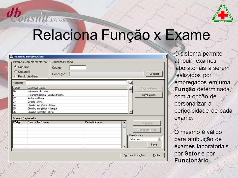 Relaciona Função x Exame