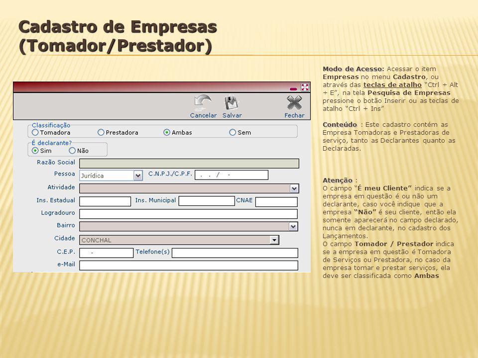 Cadastro de Empresas (Tomador/Prestador)