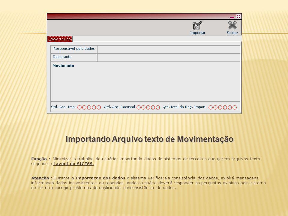 Importando Arquivo texto de Movimentação