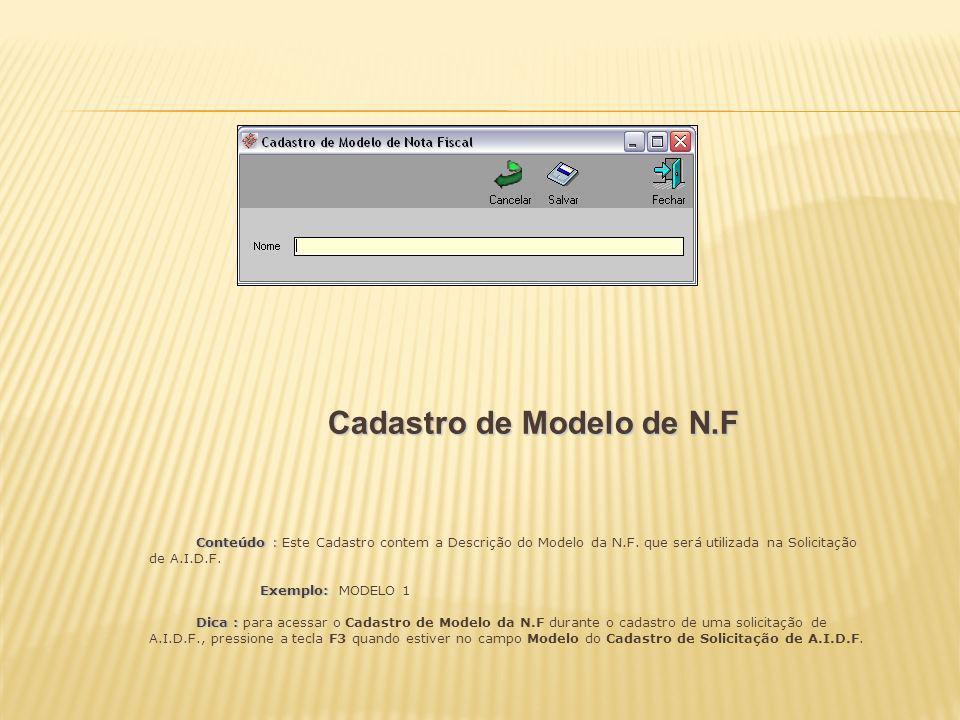 Cadastro de Modelo de N.F