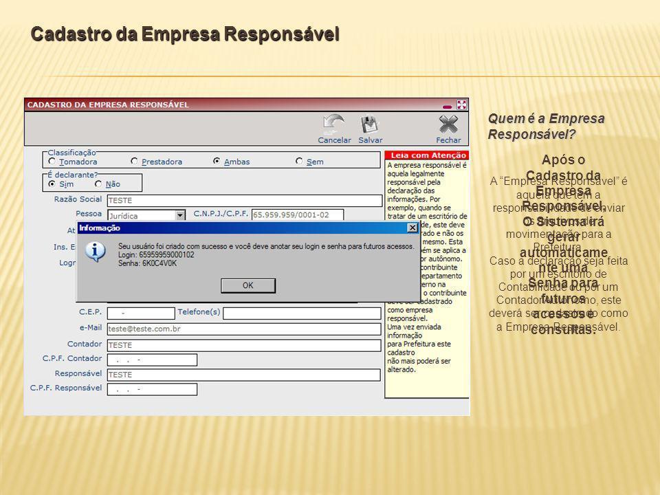 Cadastro da Empresa Responsável