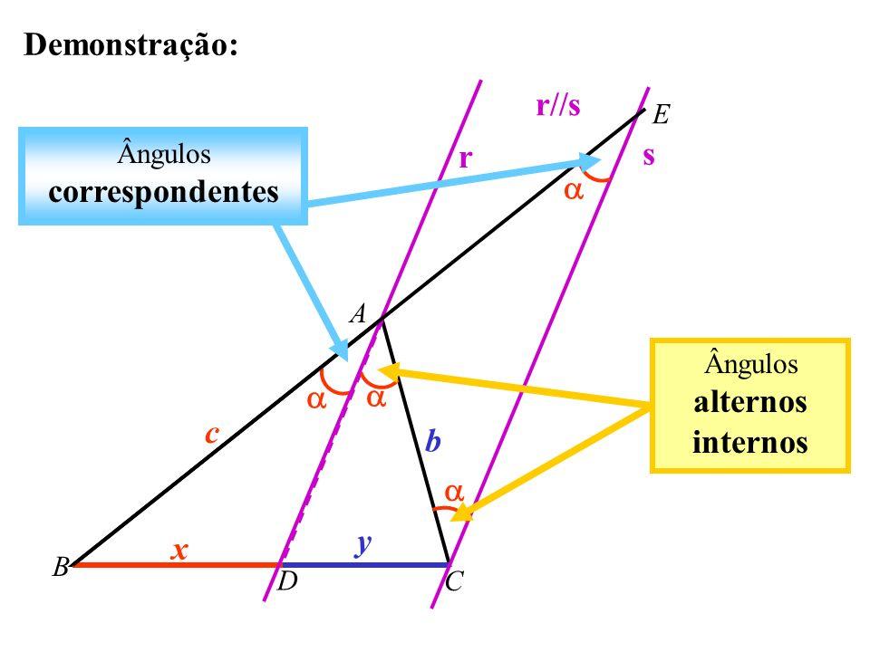 Demonstração: r//s s r   c b  y x E Ângulos correspondentes A