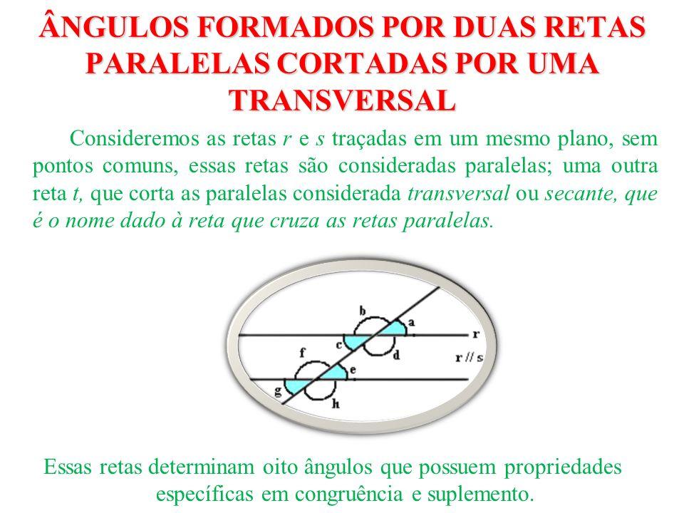 ÂNGULOS FORMADOS POR DUAS RETAS PARALELAS CORTADAS POR UMA TRANSVERSAL