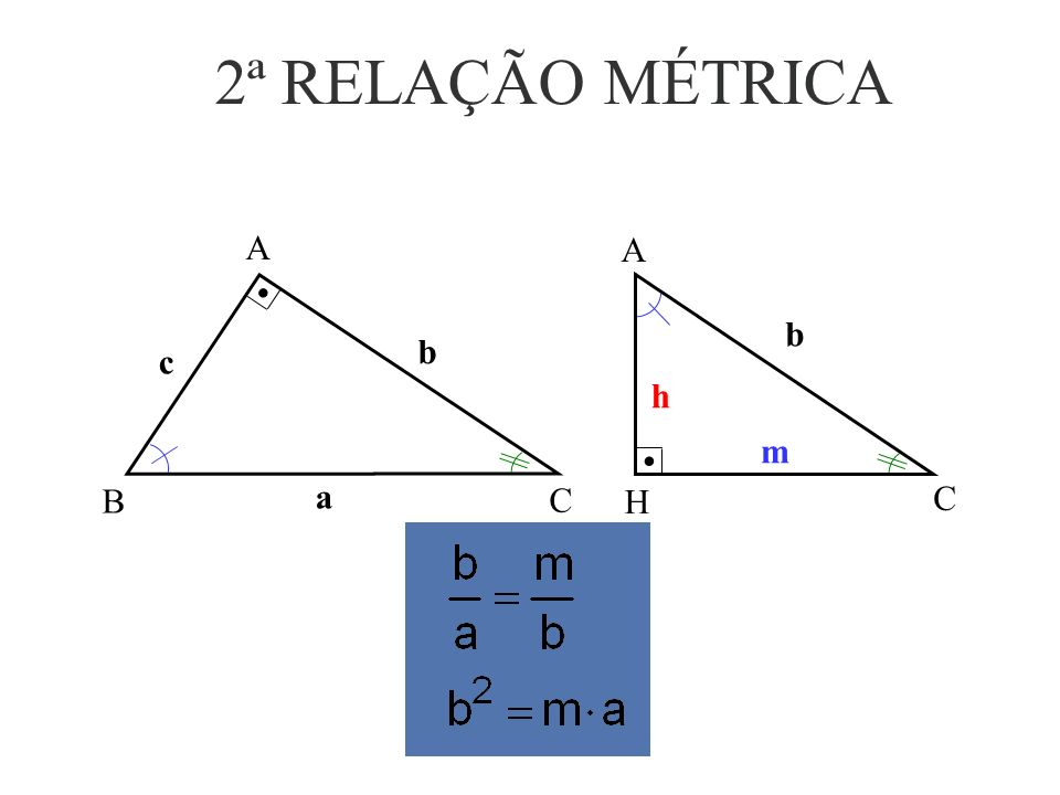 2ª RELAÇÃO MÉTRICA b c A B C a h b m A H C a b c b m h