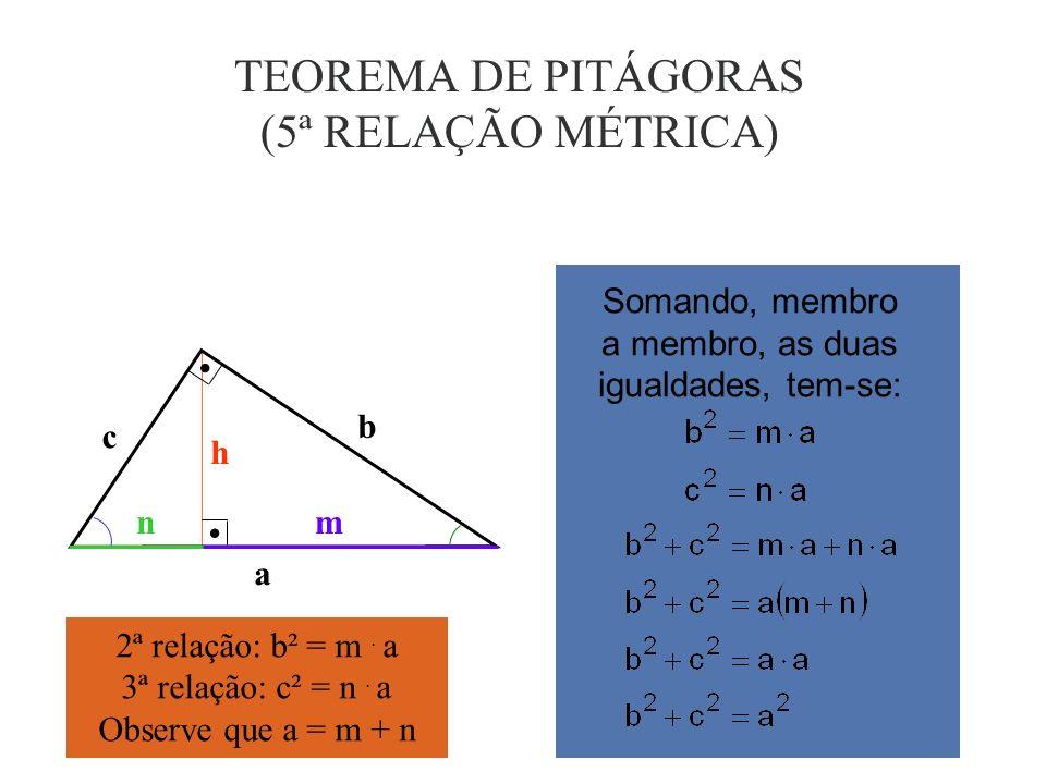 TEOREMA DE PITÁGORAS (5ª RELAÇÃO MÉTRICA)