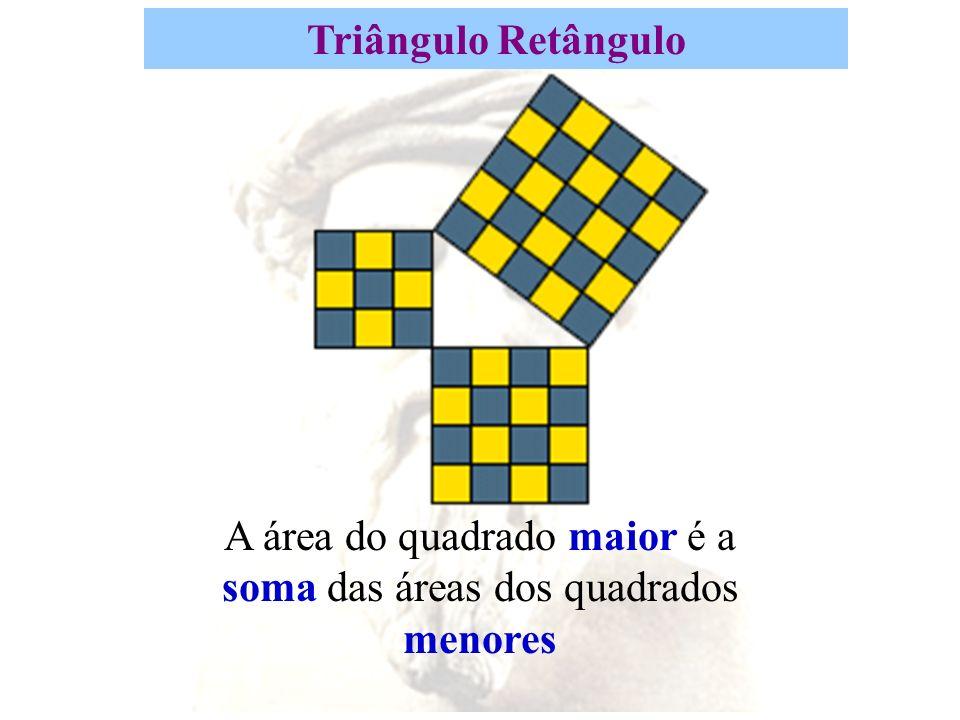 A área do quadrado maior é a soma das áreas dos quadrados menores