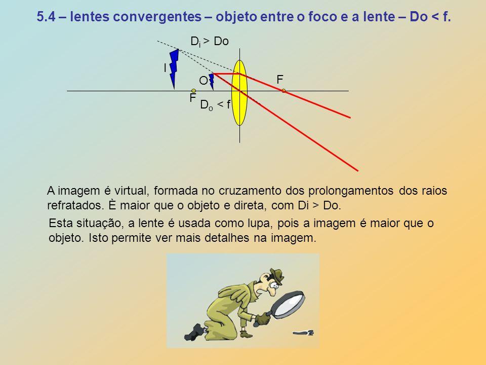 5.4 – lentes convergentes – objeto entre o foco e a lente – Do < f.