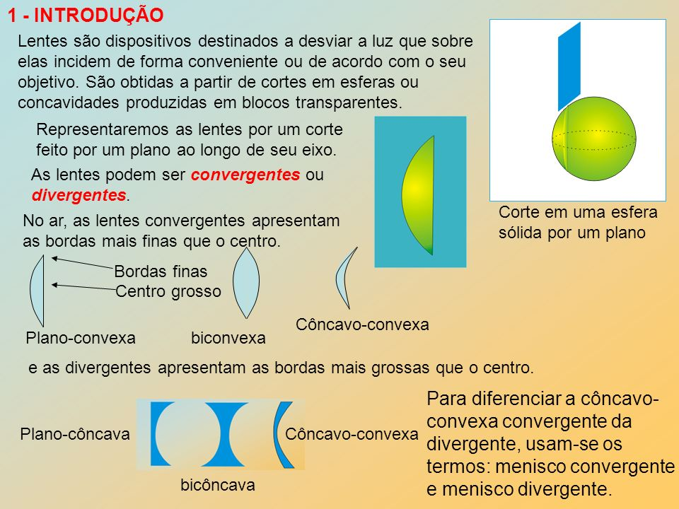 Para diferenciar a côncavo- convexa convergente da