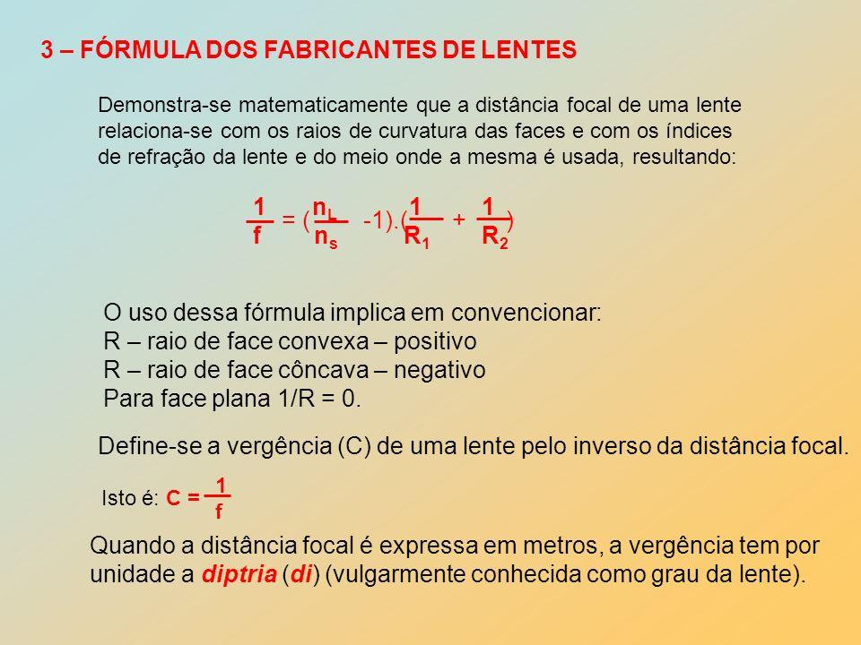 3 – FÓRMULA DOS FABRICANTES DE LENTES