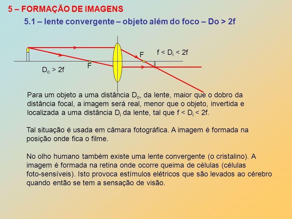 5.1 – lente convergente – objeto além do foco – Do > 2f