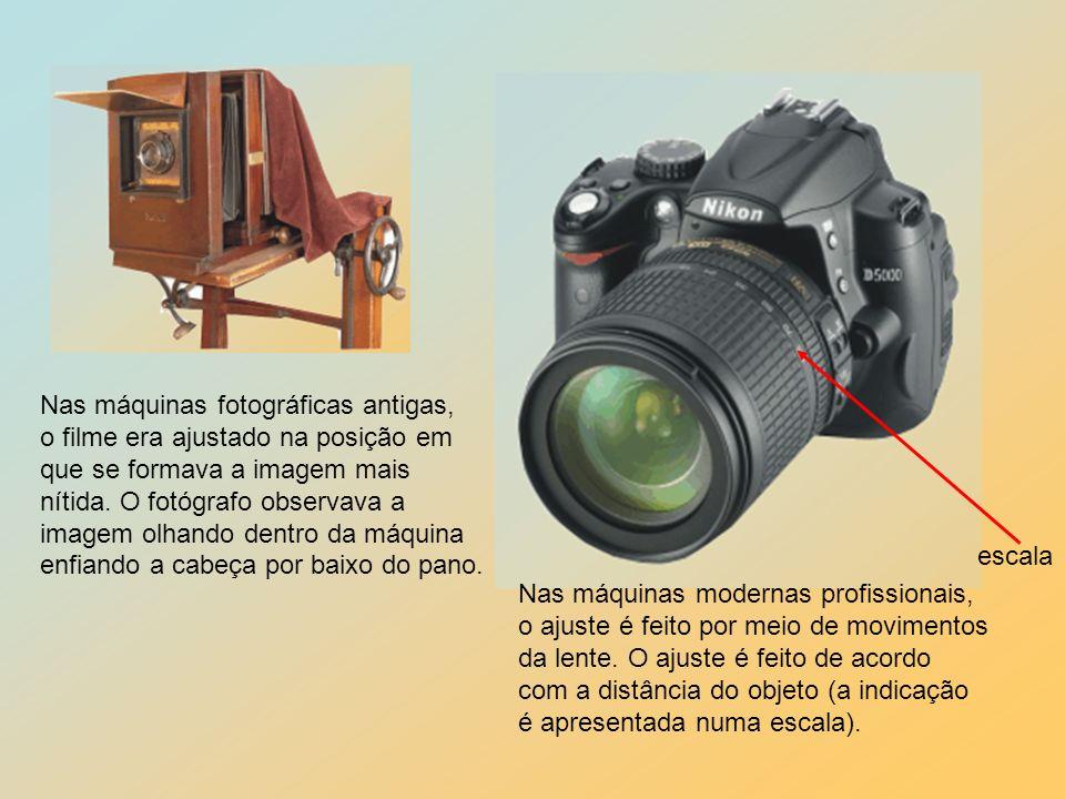 escala Nas máquinas fotográficas antigas, o filme era ajustado na posição em. que se formava a imagem mais.