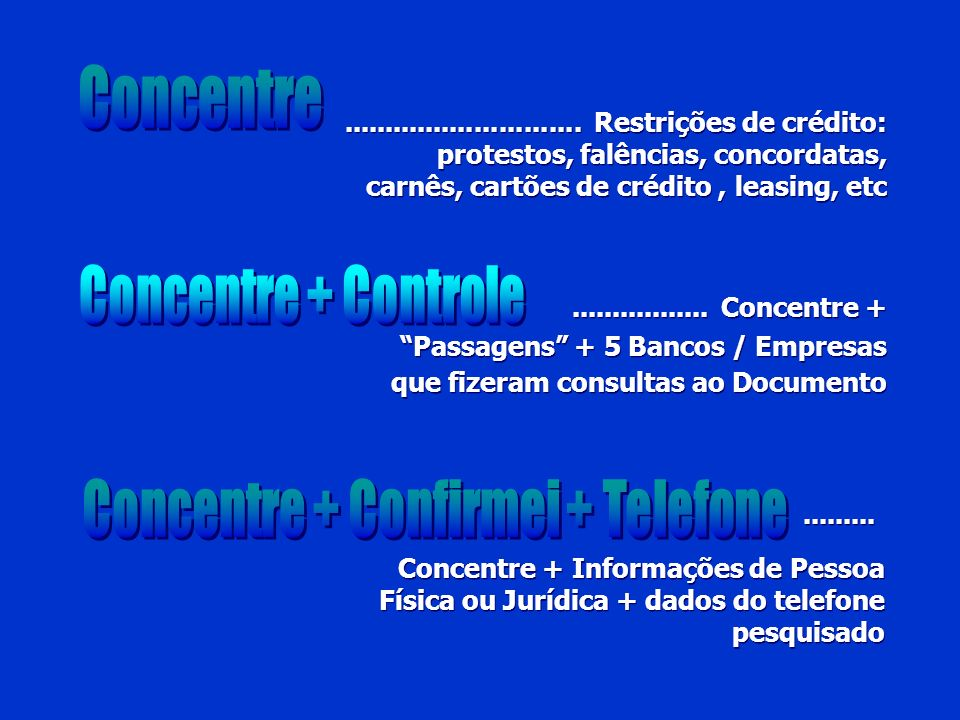 Concentre + Confirmei + Telefone