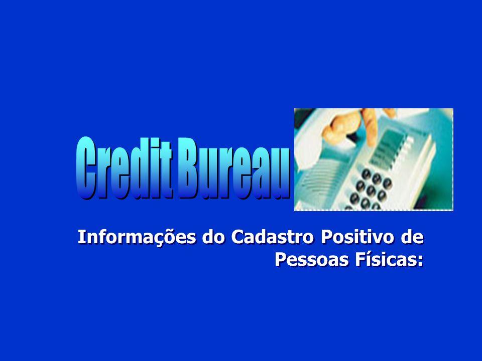 Credit Bureau Informações do Cadastro Positivo de Pessoas Físicas: