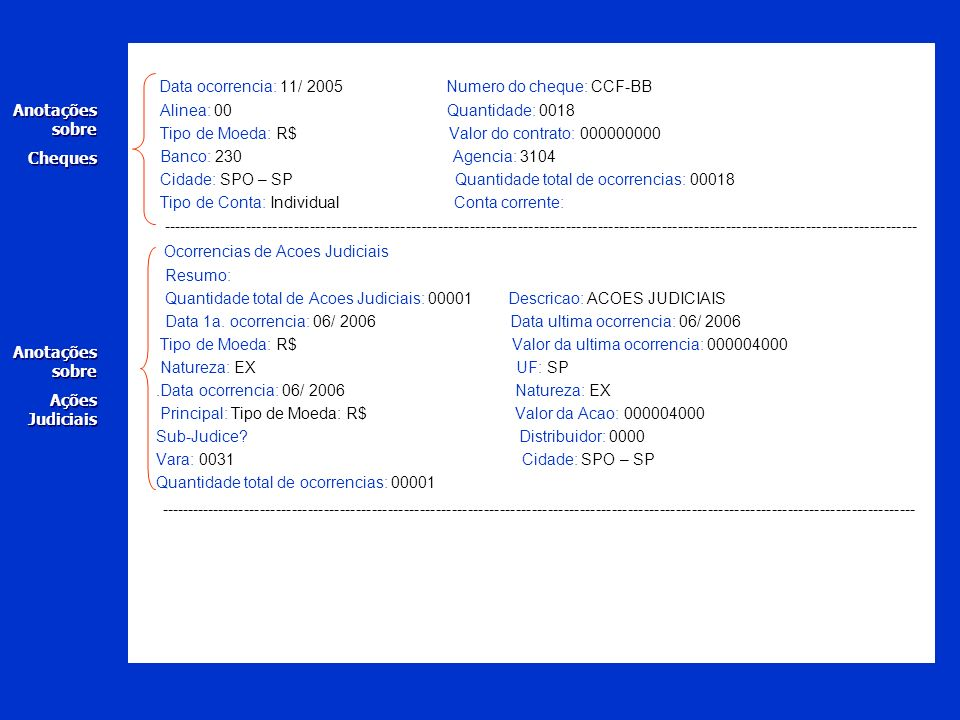 Data ocorrencia: 11/ 2005 Numero do cheque: CCF-BB