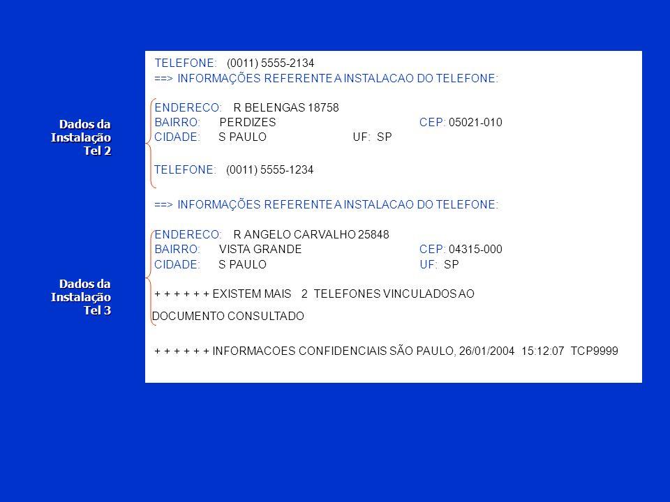 TELEFONE: (0011) 5555-2134 ==> INFORMAÇÕES REFERENTE A INSTALACAO DO TELEFONE: ENDERECO: R BELENGAS 18758.