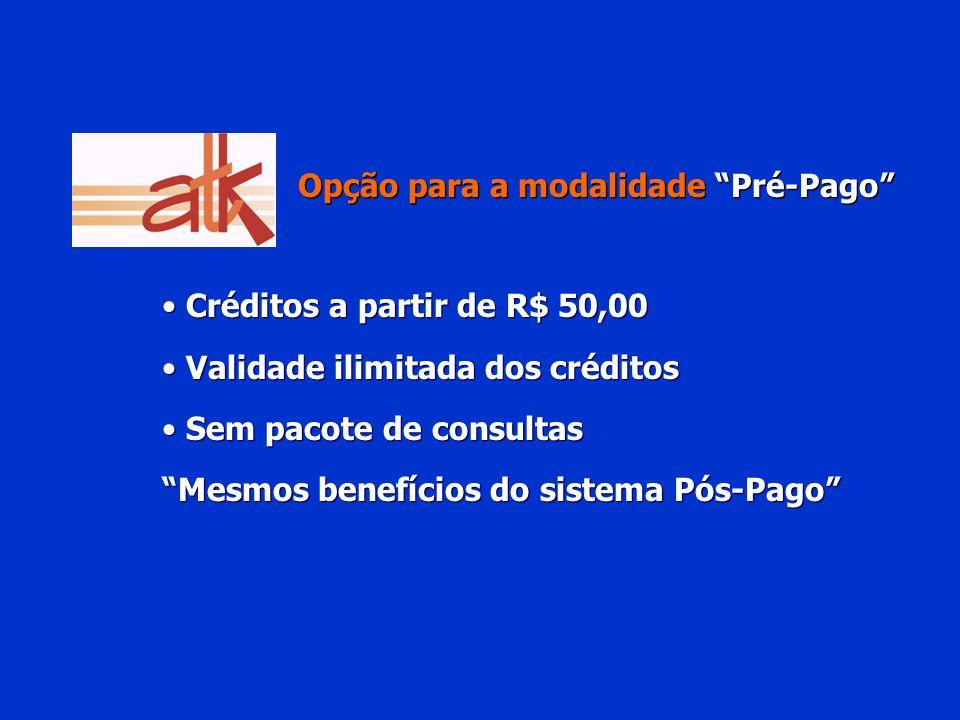 Opção para a modalidade Pré-Pago