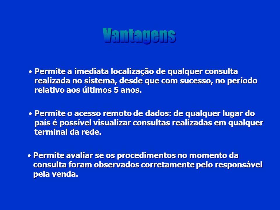 Vantagens Permite a imediata localização de qualquer consulta realizada no sistema, desde que com sucesso, no período relativo aos últimos 5 anos.