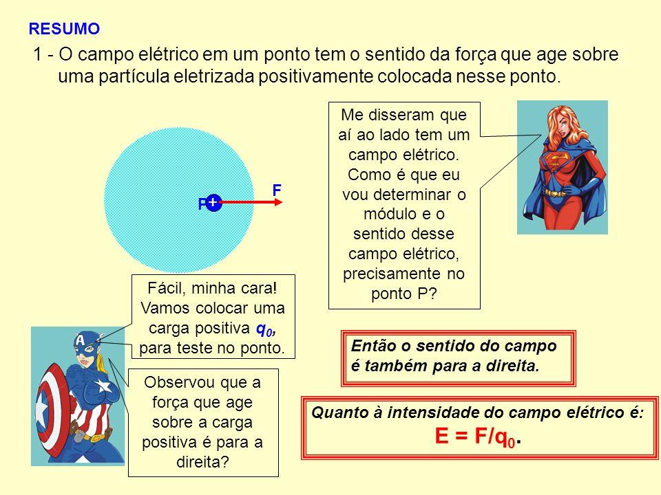 1 - O campo elétrico em um ponto tem o sentido da força que age sobre