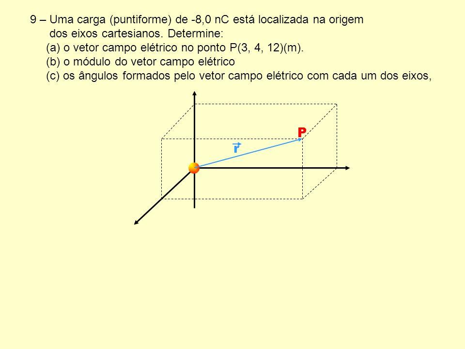 P r 9 – Uma carga (puntiforme) de -8,0 nC está localizada na origem