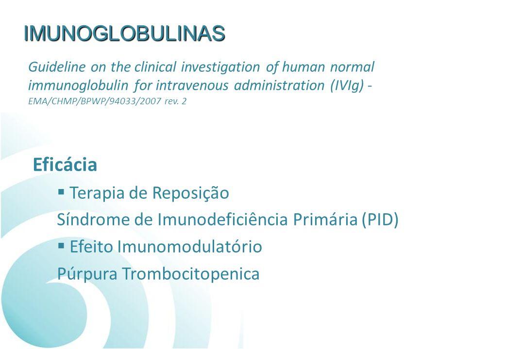 IMUNOGLOBULINAS Eficácia Terapia de Reposição