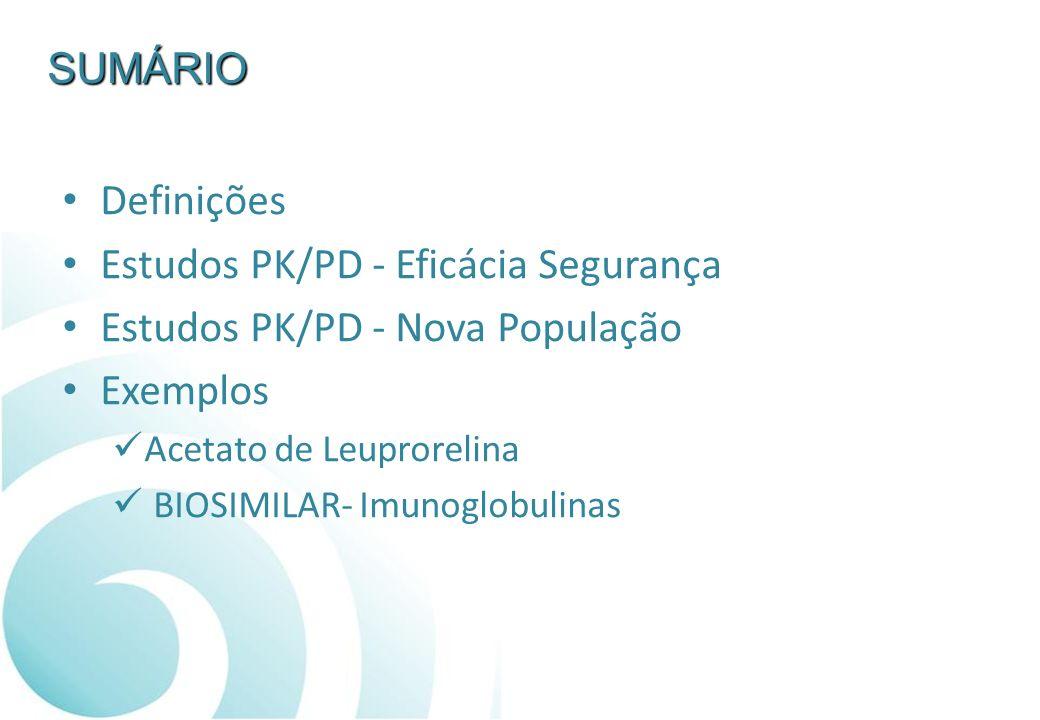 Estudos PK/PD - Eficácia Segurança Estudos PK/PD - Nova População