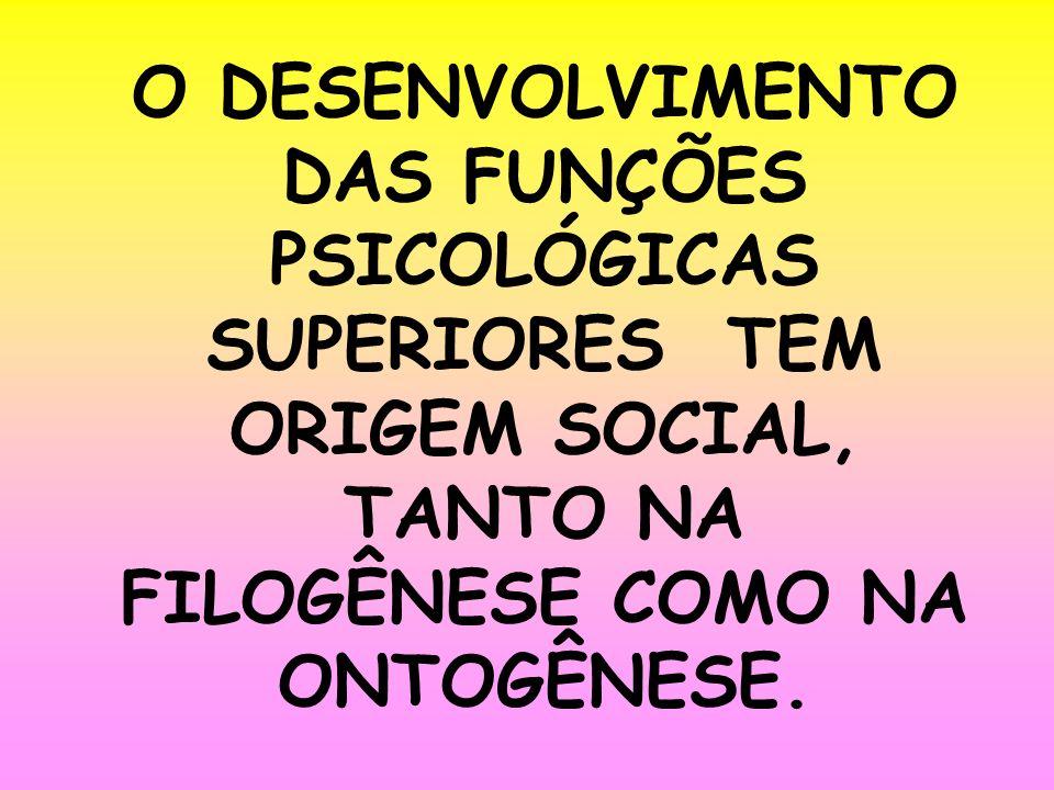 O DESENVOLVIMENTO DAS FUNÇÕES PSICOLÓGICAS SUPERIORES TEM ORIGEM SOCIAL, TANTO NA FILOGÊNESE COMO NA ONTOGÊNESE.