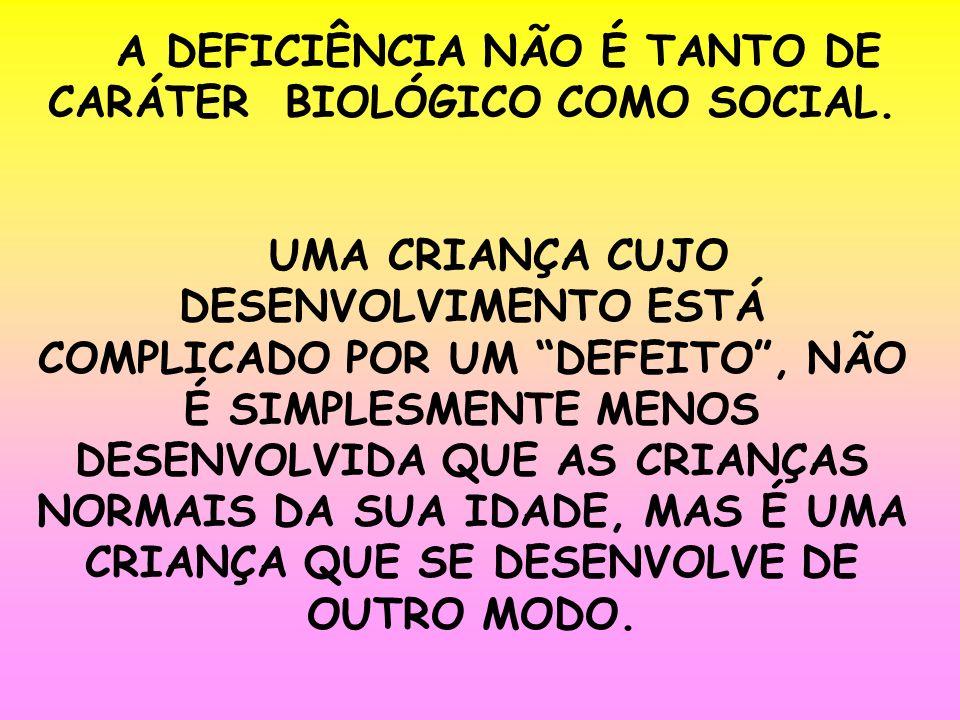A DEFICIÊNCIA NÃO É TANTO DE CARÁTER BIOLÓGICO COMO SOCIAL.
