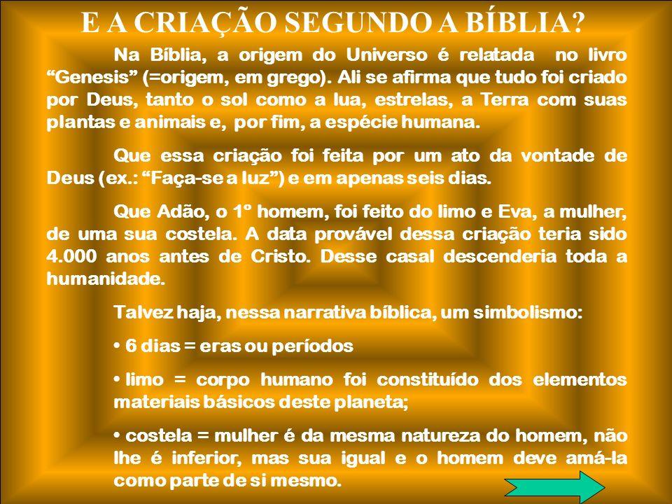 E A CRIAÇÃO SEGUNDO A BÍBLIA