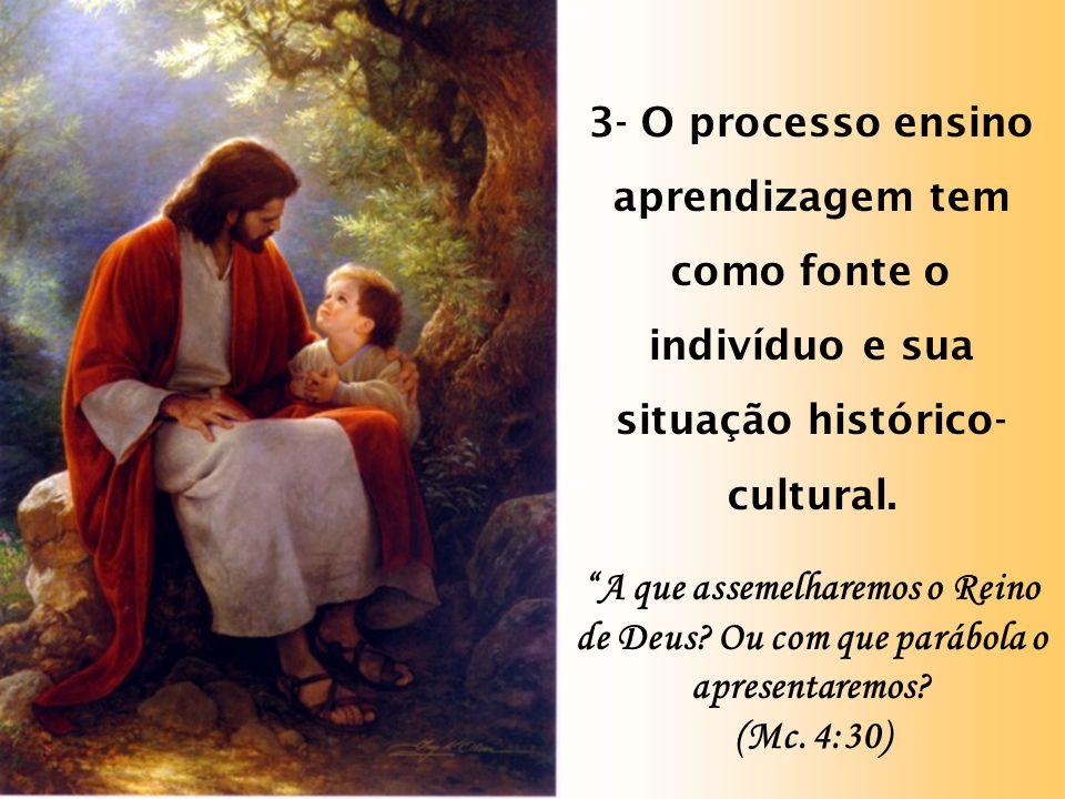 3- O processo ensino aprendizagem tem como fonte o indivíduo e sua situação histórico-cultural.