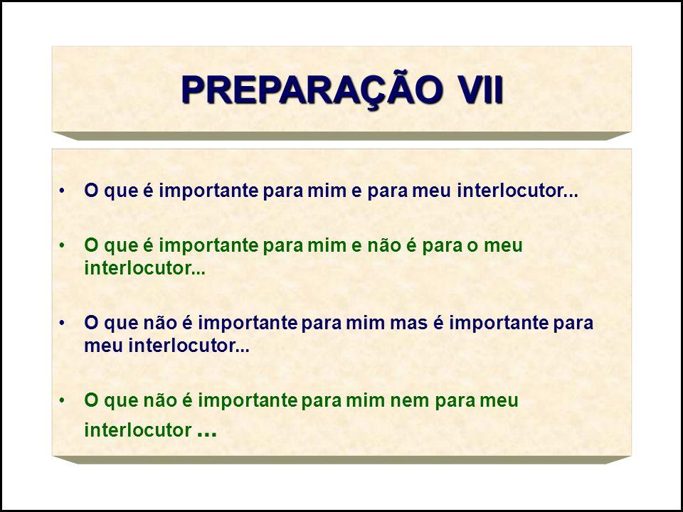 PREPARAÇÃO VII O que é importante para mim e para meu interlocutor...