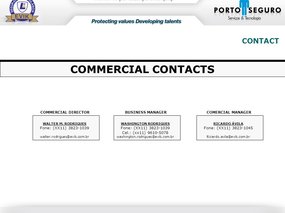 COMMERCIAL CONTACTS CONTACT Fone: (XX11) 3823-1039
