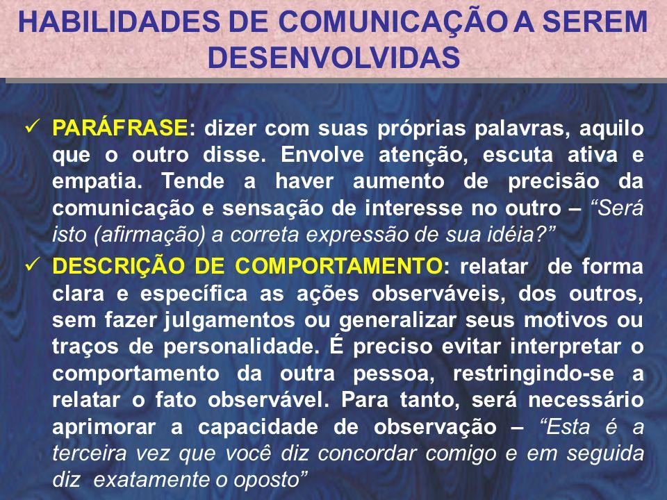 HABILIDADES DE COMUNICAÇÃO A SEREM DESENVOLVIDAS