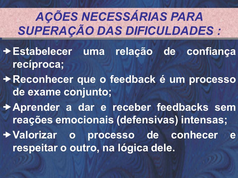AÇÕES NECESSÁRIAS PARA SUPERAÇÃO DAS DIFICULDADES :