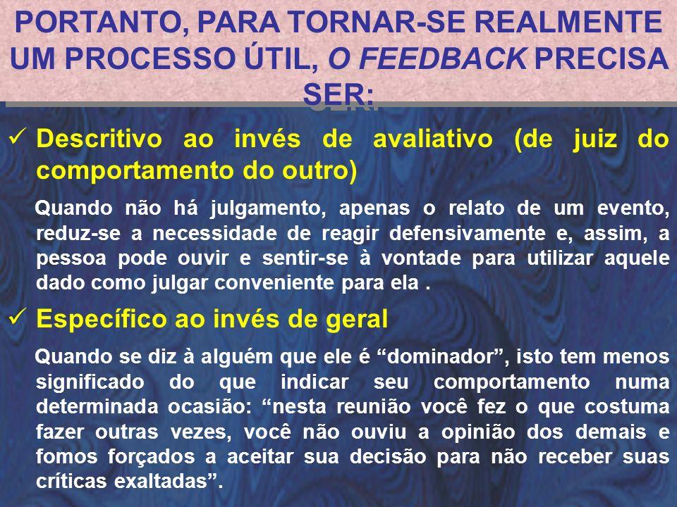 PORTANTO, PARA TORNAR-SE REALMENTE UM PROCESSO ÚTIL, O FEEDBACK PRECISA SER: