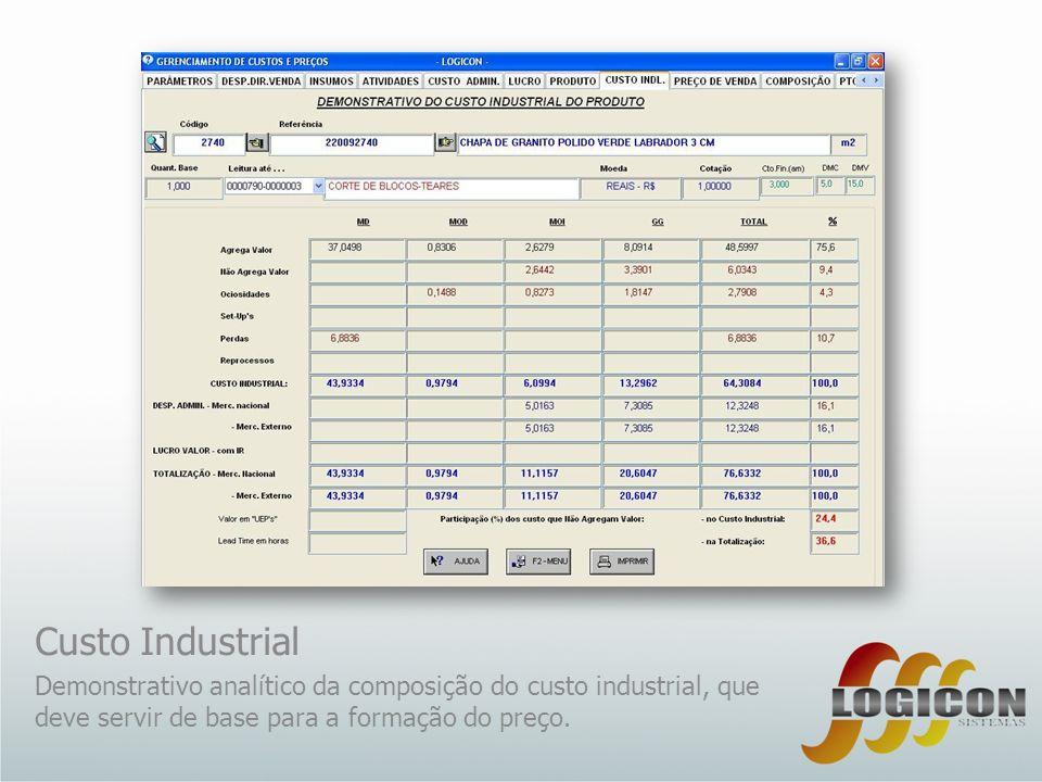 Custo Industrial Demonstrativo analítico da composição do custo industrial, que deve servir de base para a formação do preço.