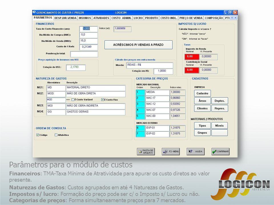 Parâmetros para o módulo de custos