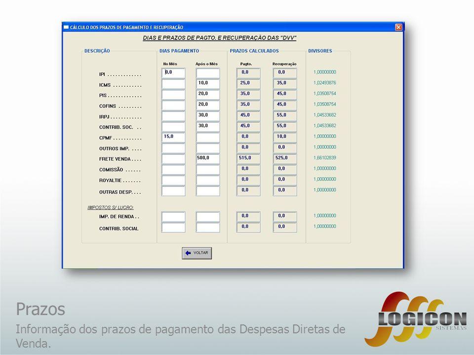 Prazos Informação dos prazos de pagamento das Despesas Diretas de Venda.