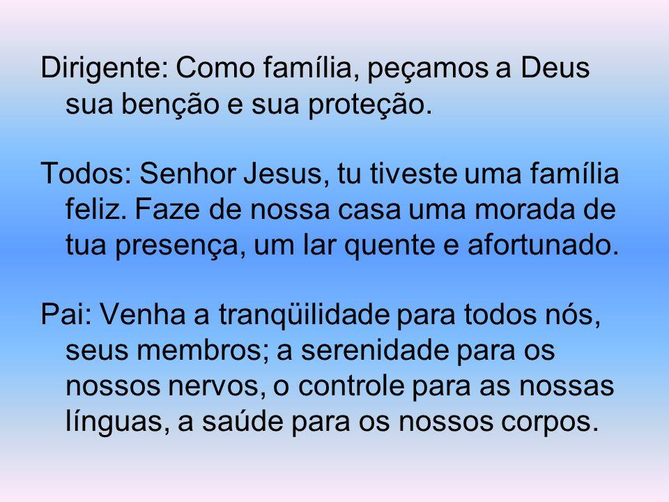 Dirigente: Como família, peçamos a Deus sua benção e sua proteção.