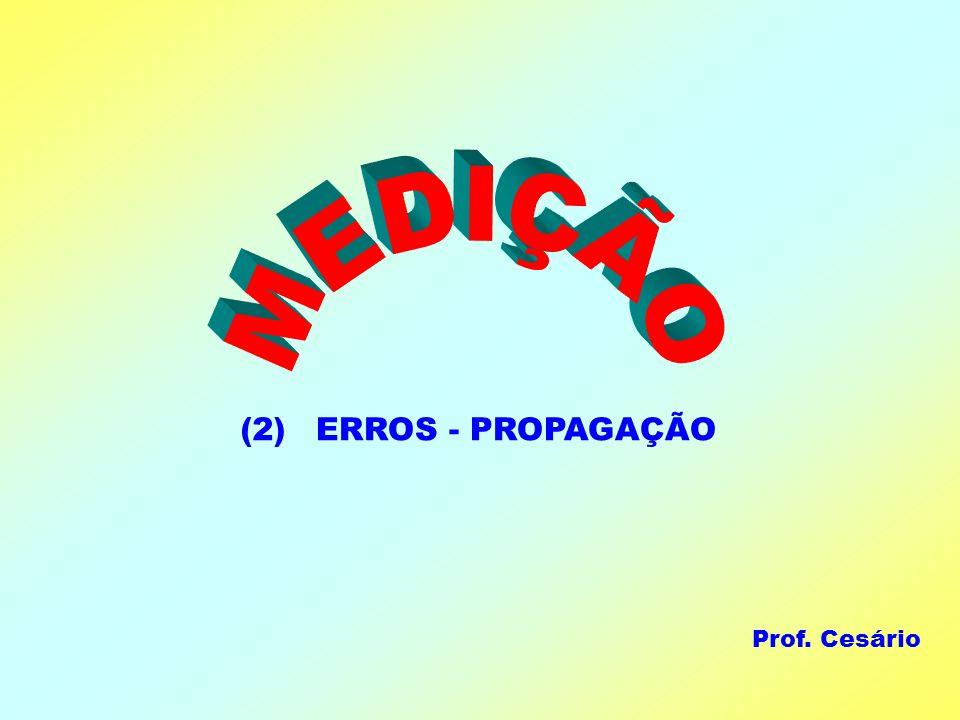 MEDIÇÃO ERROS - PROPAGAÇÃO (2) Prof. Cesário