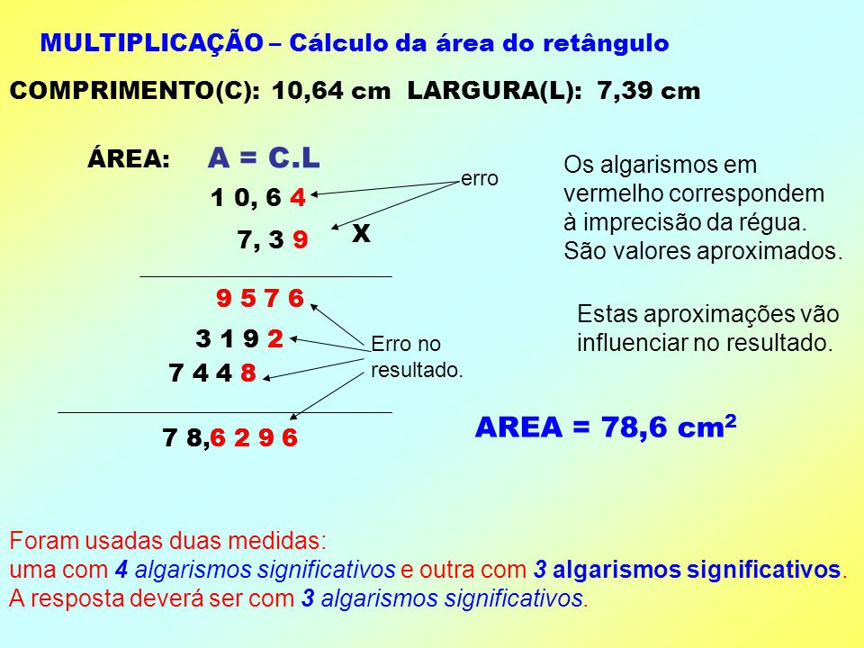 A = C.L AREA = 78,6 cm2 MULTIPLICAÇÃO – Cálculo da área do retângulo