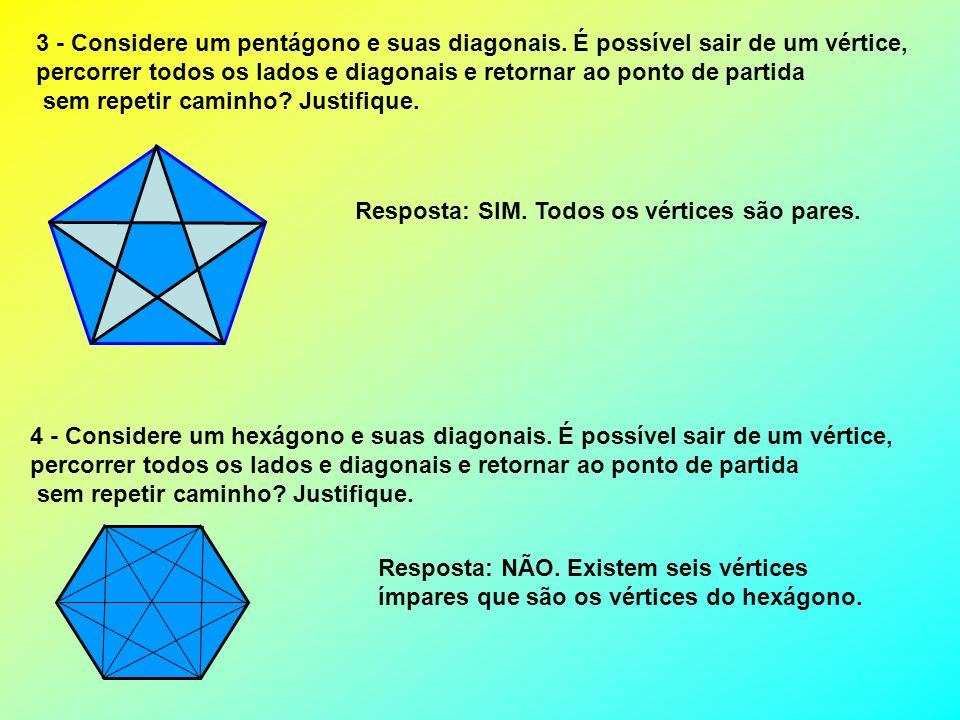 3 - Considere um pentágono e suas diagonais