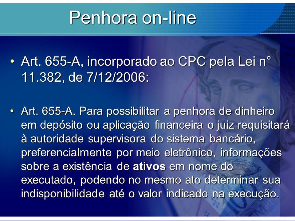Penhora on-line Art. 655-A, incorporado ao CPC pela Lei n° 11.382, de 7/12/2006: