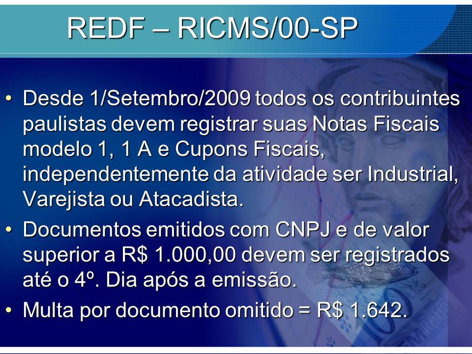REDF – RICMS/00-SP