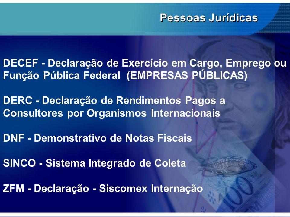 Pessoas JurídicasDECEF - Declaração de Exercício em Cargo, Emprego ou Função Pública Federal (EMPRESAS PÚBLICAS)