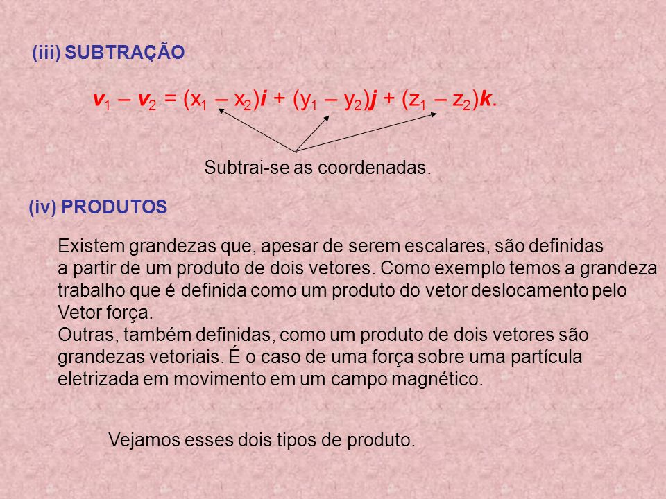 v1 – v2 = (x1 – x2)i + (y1 – y2)j + (z1 – z2)k.