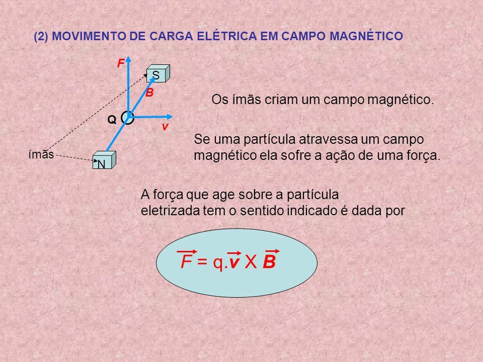 F = q.v X B Os ímãs criam um campo magnético.