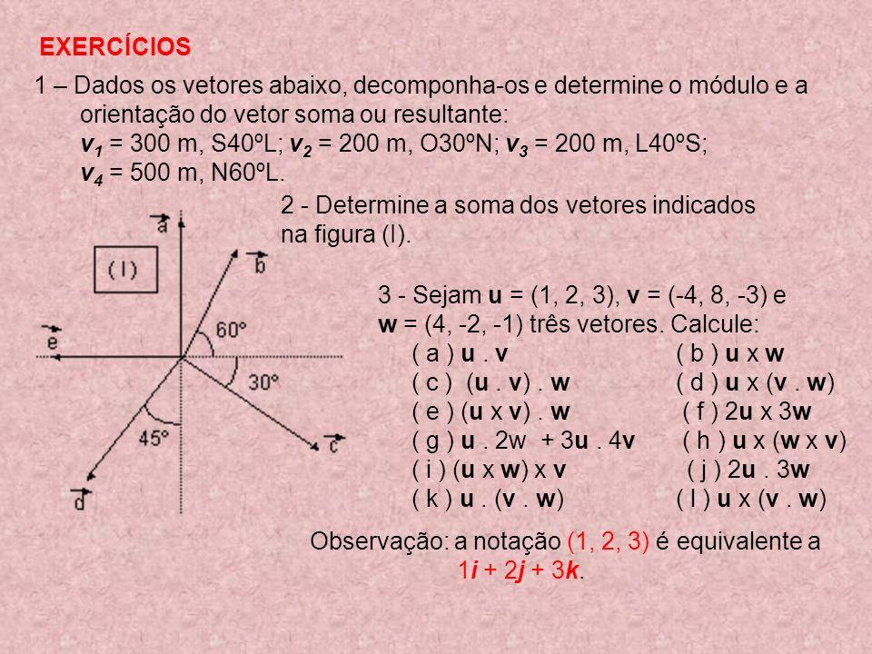 EXERCÍCIOS 1 – Dados os vetores abaixo, decomponha-os e determine o módulo e a. orientação do vetor soma ou resultante:
