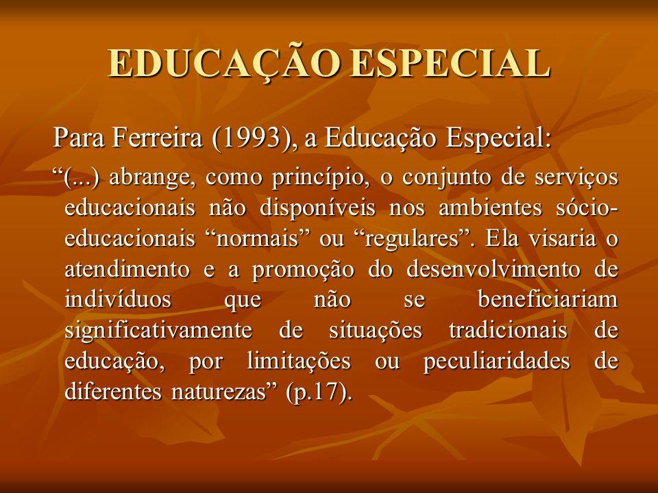 EDUCAÇÃO ESPECIAL Para Ferreira (1993), a Educação Especial: