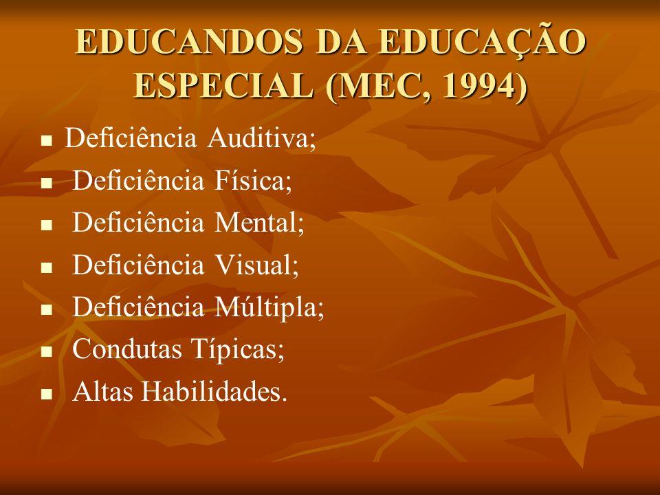 EDUCANDOS DA EDUCAÇÃO ESPECIAL (MEC, 1994)