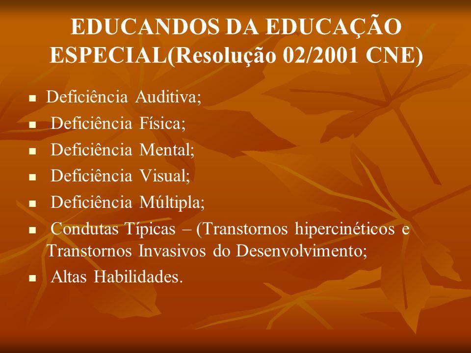 EDUCANDOS DA EDUCAÇÃO ESPECIAL(Resolução 02/2001 CNE)